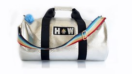 Silver Snakeskin Large Kit Bag With Rainbow Strap