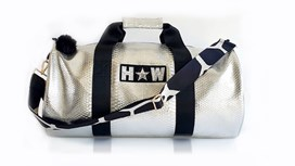 Silver Snakeskin Large Kit Bag With Giraffe Black & White Strap