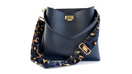 Navy Leather Tote Bag and Strap