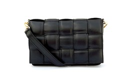 Black Padded Woven Leather Cross-Body Bag