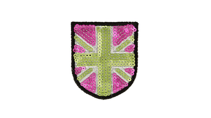 Matte Sequin Pink/Green Union Jack (Small)