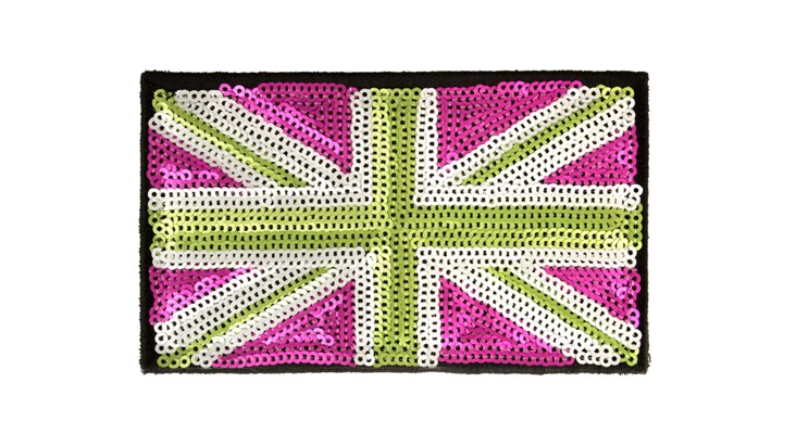 Matte Sequin Pink/Green Union Jack (Large)