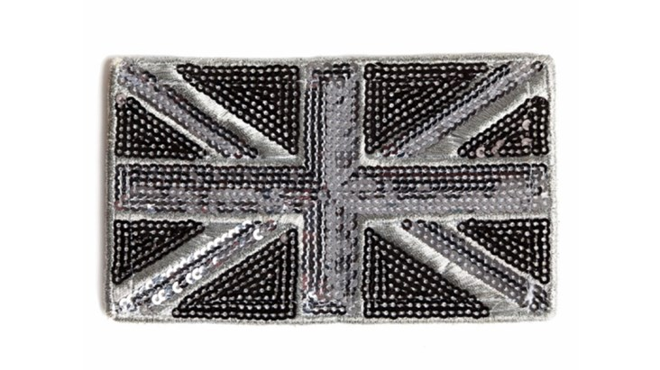 Black and Silver Union Jack Patch x 10
