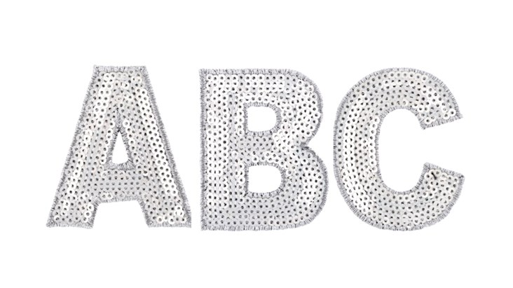 Silver Sequin Letter Patch Bundle