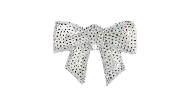Silver Sequin Bow Patch