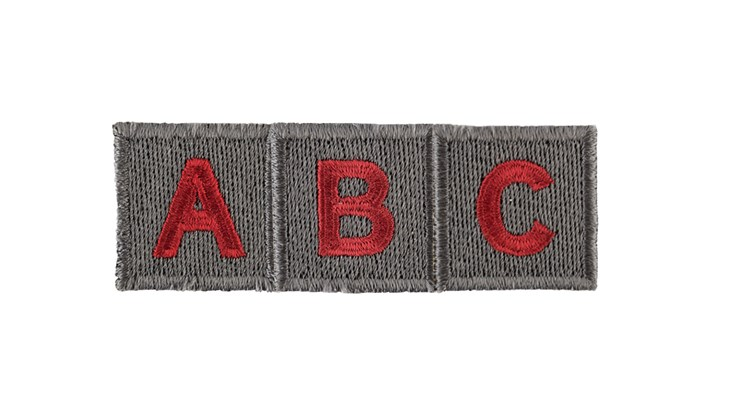 Grey/Red Adhesive Letters