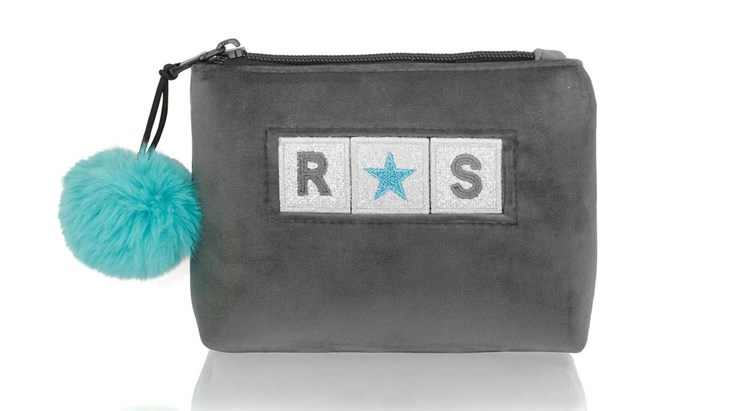 Personalised Adhesive Patch Grey Velvet Makeup Bag
