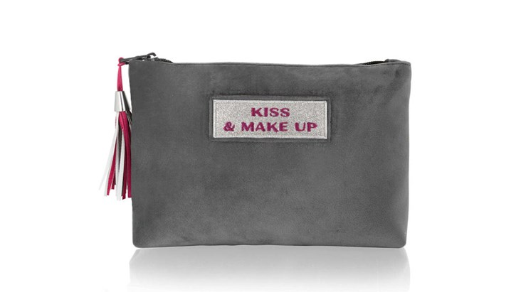 Customised Adhesive Patch Grey Velvet Beauty Bag