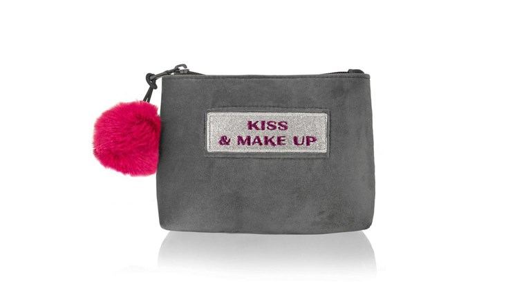 Customised Adhesive Patch Grey Velvet Make Up Bag