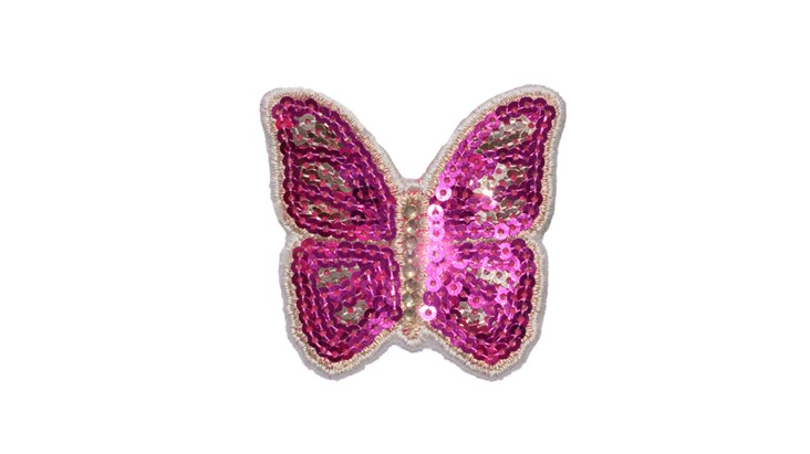 Small Pink Sequin Butterfly x 10