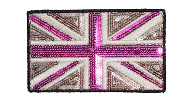 Large Champagne/Pink Sequin Union Jack
