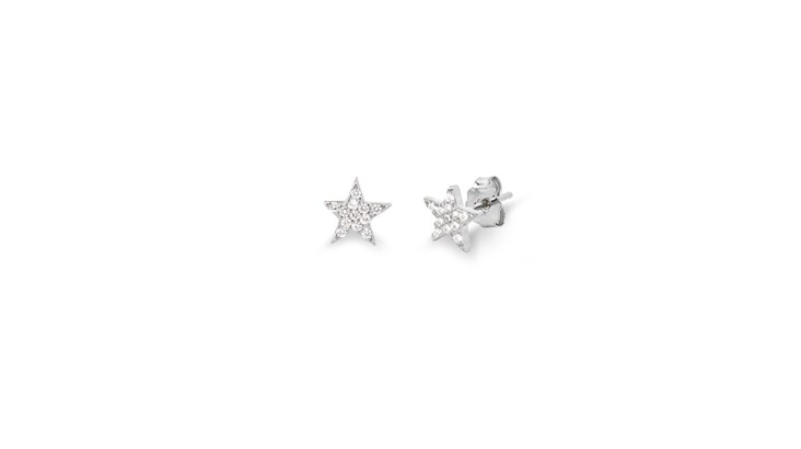 Silver Gem Star Earrings