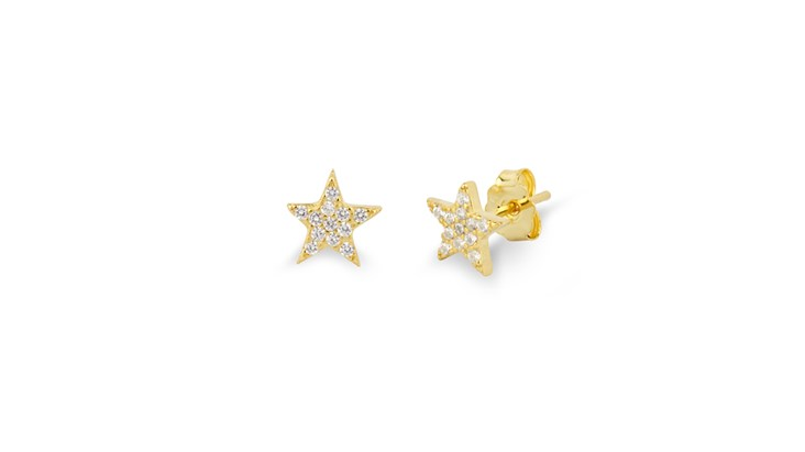 Gold Gem Star Earrings