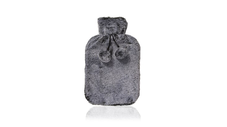 Grey Faux Fur Hot Water Bottle