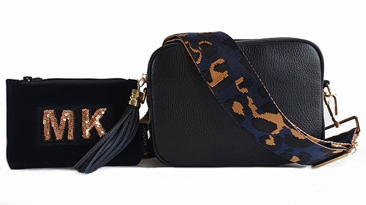 Black Leather Bag & Strap with Personalised Purse
