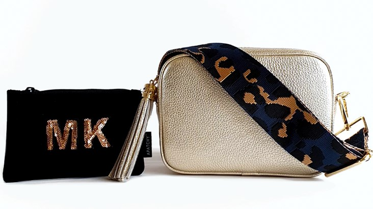Gold Leather Bag & Strap with Free Personalised Purse