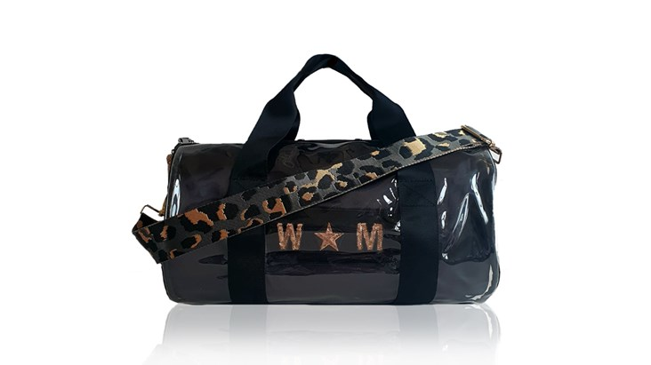 Kit Bag With Black Satin Liner and Grey Leopard Strap