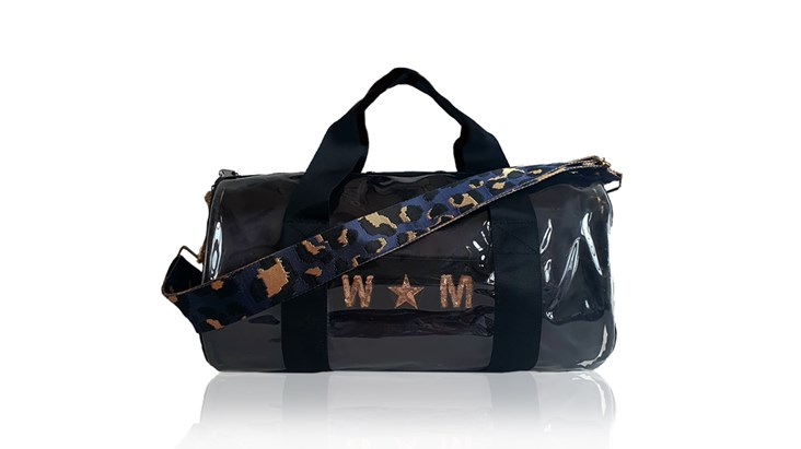 Kit Bag With Black Satin Liner and Navy Leopard Strap
