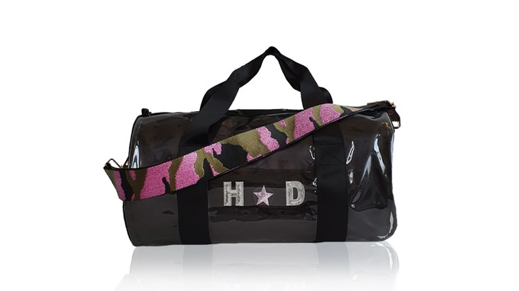 Kit Bag With Black Satin Liner and Pink Camo Strap