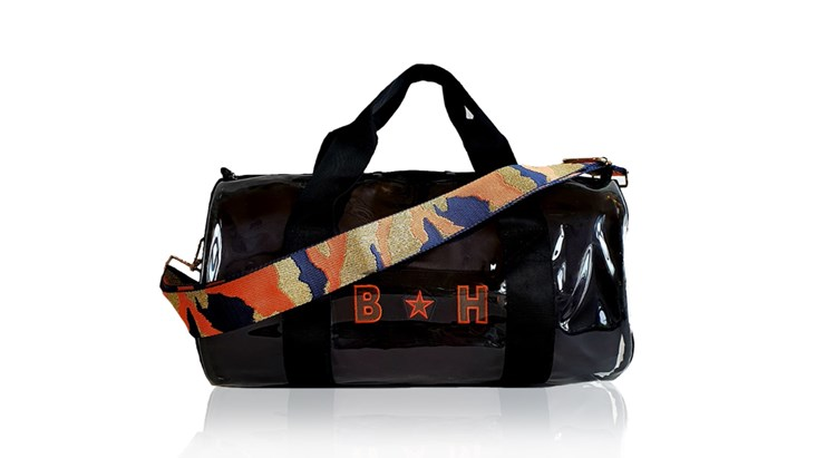 Kit Bag With Black Satin Liner and Orange Camo Strap