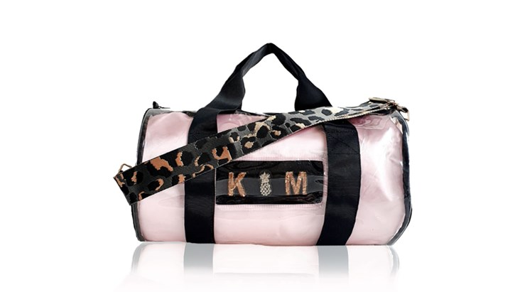 Kit Bag With Pale Pink Satin Liner and Grey Leopard Strap