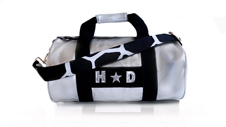 Silver Kit Bag With Giraffe Black & White Strap