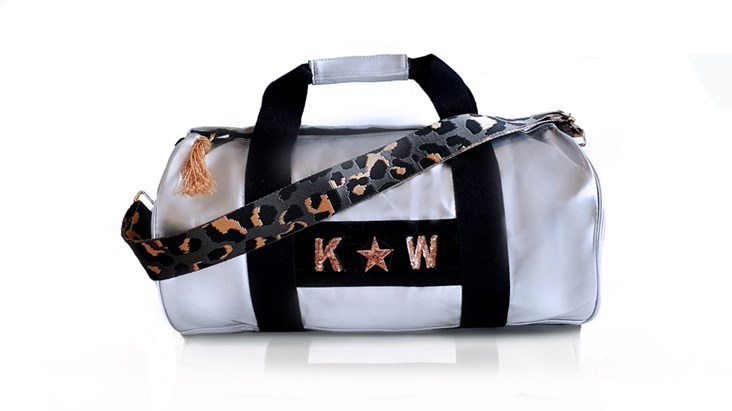 Silver Kit Bag With Grey Leopard Strap