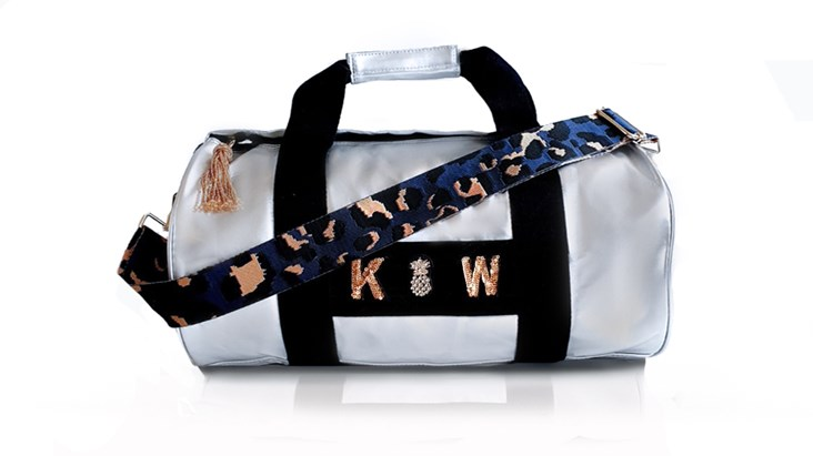 Silver Kit Bag With Navy Leopard Strap