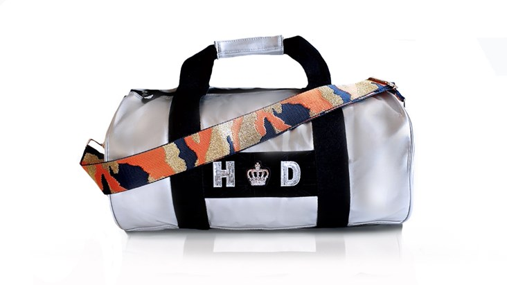 Silver Kit Bag With Orange Camo Strap