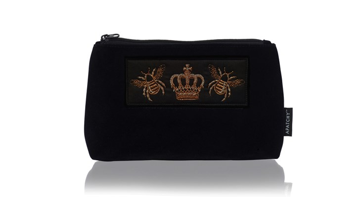 Customised Diva Medium Makeup Bag in Midnight Navy Velvet