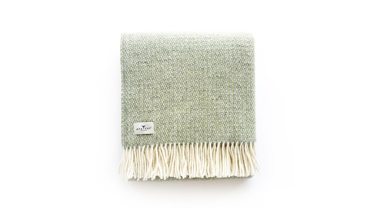 Green Grey Wool Throw
