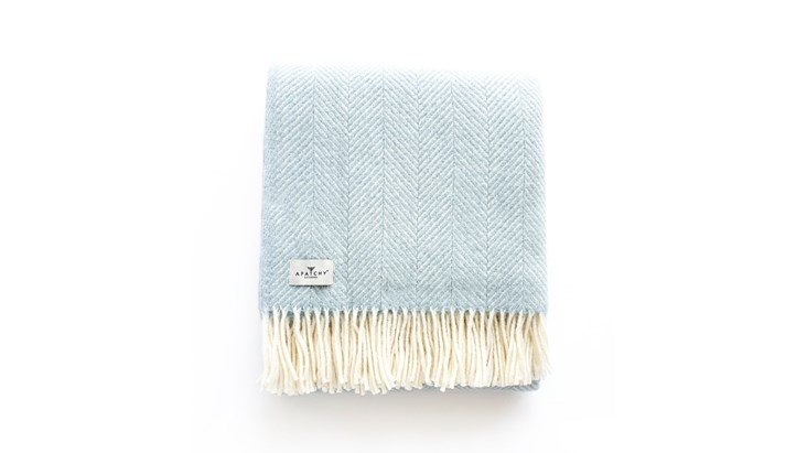 Duck Egg Blue Wool Throw