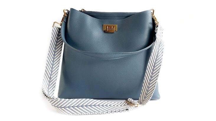Denim Blue Leather Tote Bag and Strap