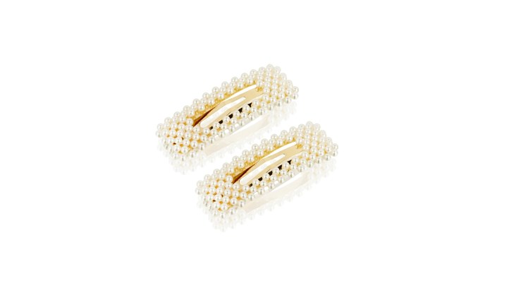 Pair of Large Pearl Rectangle Hair Clips