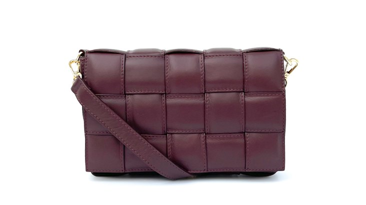 Burgundy Padded Woven Leather Cross-Body Bag