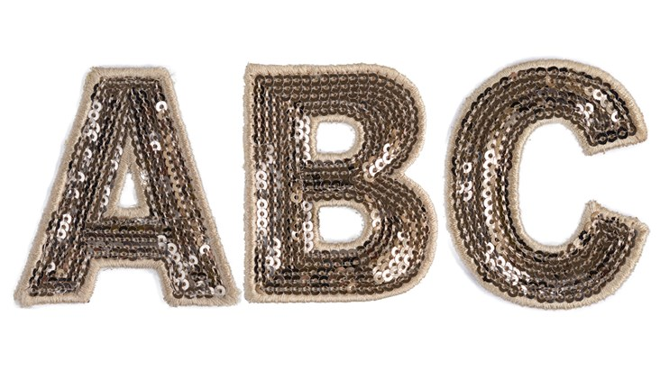 Champagne Sequin Letter Patch Bundle