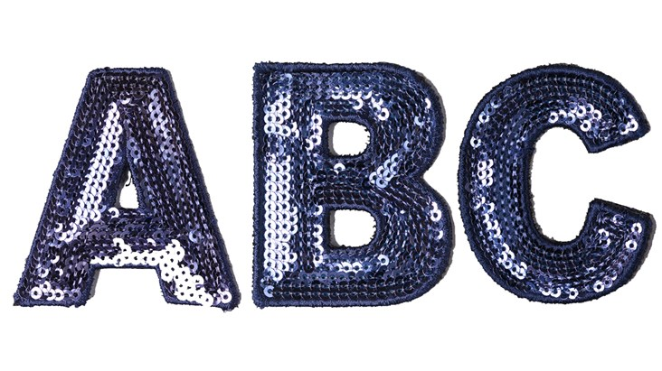 Blue Sequin Letter Patch Bundle