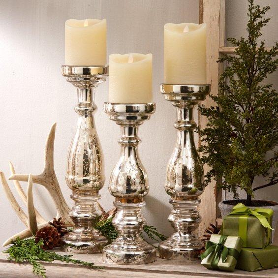 Twos Company 50540 Pentimento Silver Mercury Glass Pillar