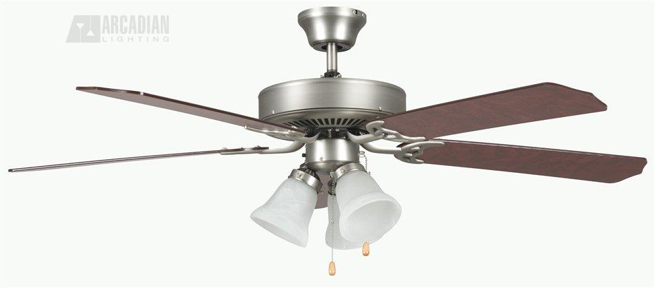 Concord fans 52heh5e heritage home 52 traditional ceiling fan cc sn satin nickel with rosewoodsilver oak blades aloadofball Gallery