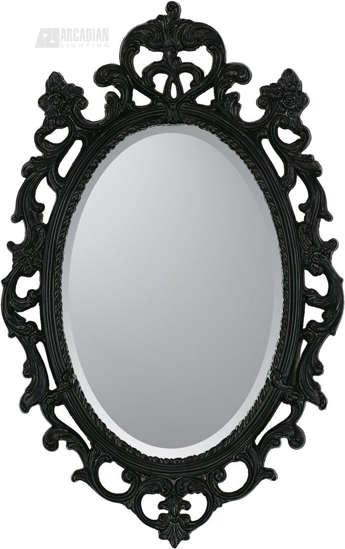 Malanta Knowles 8851 Black Ornate Traditional Oval Mirror