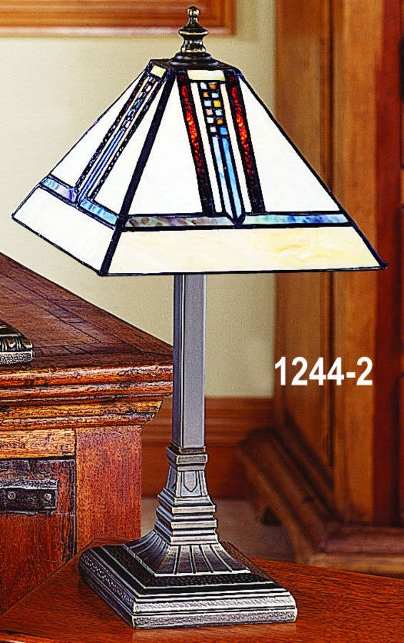 Paul sahlin tiffany 1244 2 mission style mini tiffany table lamp pst zoom aloadofball Images