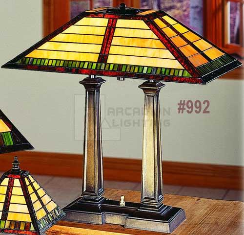 Paul Sahlin Tiffany 992 Mission Style Tiffany Desk Lamp