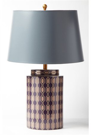 Burberry Gray And Purple Round Transitional Table Lamp