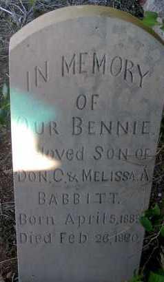 BABBITT, BENNIE - Apache County, Arizona | BENNIE BABBITT - Arizona Gravestone Photos