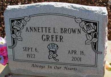 BROWN GREER, ANNETTE L. - Apache County, Arizona | ANNETTE L. BROWN GREER - Arizona Gravestone Photos