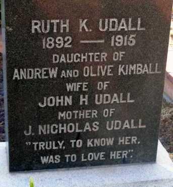 UDALL, RUTH K. - Apache County, Arizona | RUTH K. UDALL - Arizona Gravestone Photos