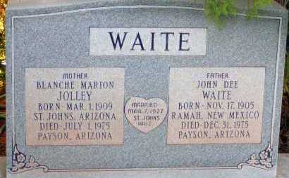 JOLLEY WAITE, BLANCHE MARION - Apache County, Arizona | BLANCHE MARION JOLLEY WAITE - Arizona Gravestone Photos