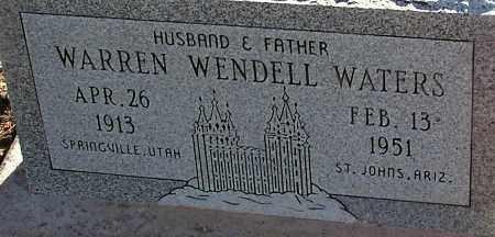 WATERS, WARREN WENDELL - Apache County, Arizona | WARREN WENDELL WATERS - Arizona Gravestone Photos