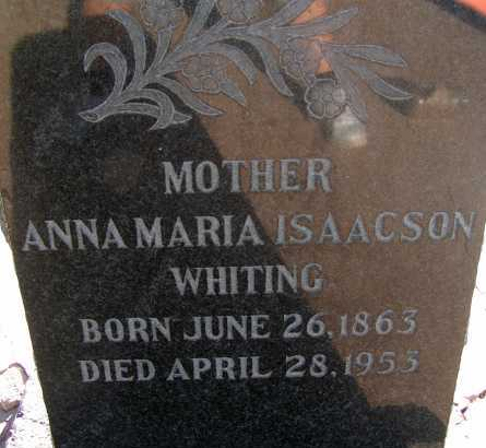 ISAACSON WHITING, ANNA MARIA - Apache County, Arizona | ANNA MARIA ISAACSON WHITING - Arizona Gravestone Photos