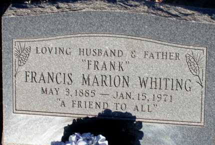 WHITING, FRANCIS MARION - Apache County, Arizona | FRANCIS MARION WHITING - Arizona Gravestone Photos